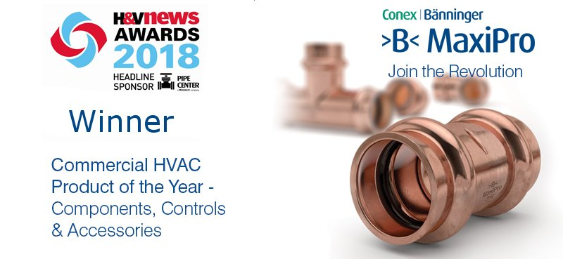 Conex Banninger wins H&V News Product of the year award 2018